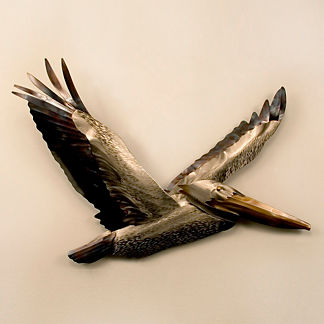 Pelican Flying Wings Up by Copper Art