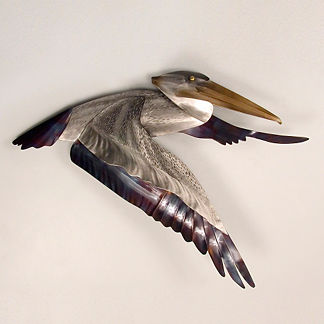 Pelican Flying Wings Down by Copper Art