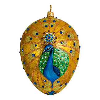 Jeweled Peacock Egg Ornament