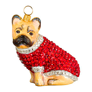 Diva Dog French Bulldog Cream in Crystal Coat Ornament