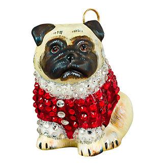 Diva Dog Pug Fawn in Crystal Coat Ornament