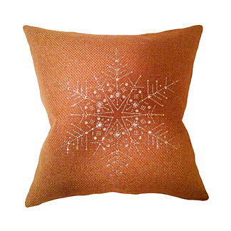 Shimmer and Metallic Crystal Snowflake Pillow