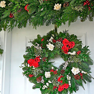Red and White Holiday Rose Fresh Evergreen Wreath