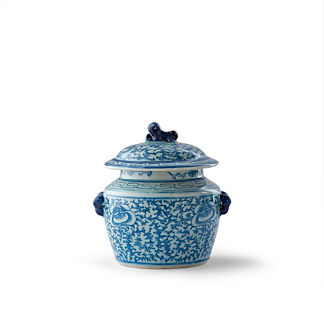 Blue Ming Foo Dog Lidded Jar
