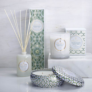 Voluspa Moroccan Mint Tea Candle and Diffuser Collection