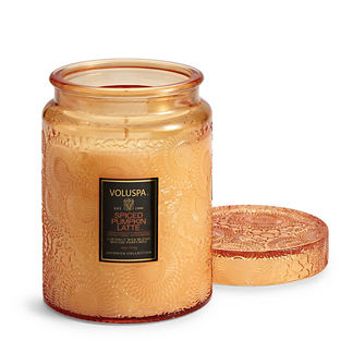 Voluspa Spiced Pumpkin Latte Embossed Glass Candle