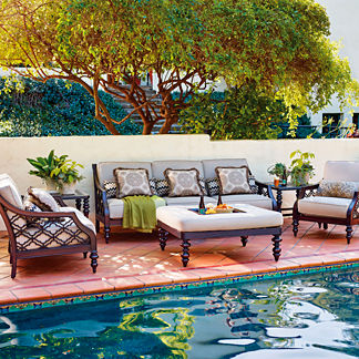 Tommy Bahama Black Sands Sofa with Cushions