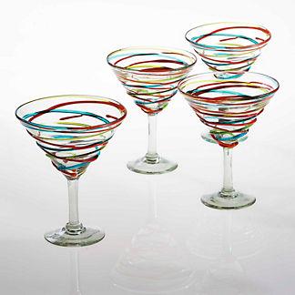 Margaritaville Swirl Martini Glasses, Set of Four