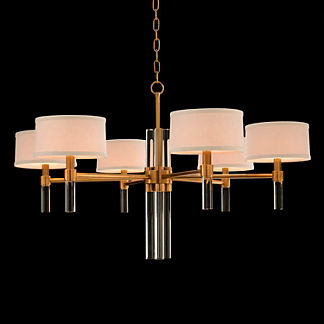 Six Light Glass Spear Chandelier