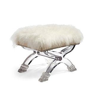 Tibetan Sheepskin Acrylic Bench