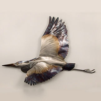 Blue Heron in Flight Wall Art by Copper Art