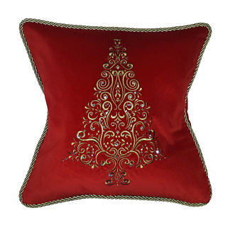 Highland Holiday Embroidery and Crystal Tree Pillow