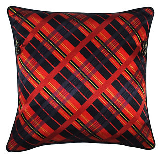 Tartan Plaid and Crest Button Pillow