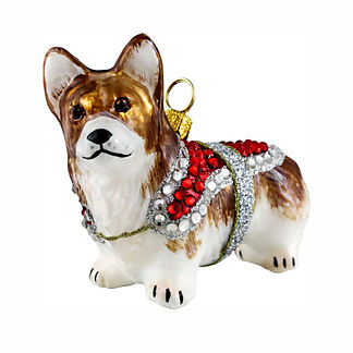 Diva Dog Pembroke Welsh Corgi in Crystal Coat Ornament