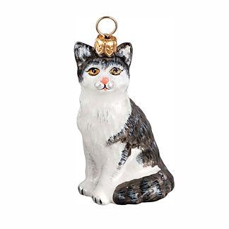 American Shorthair Gray & White Cat Ornament