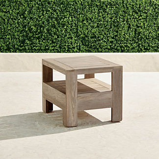 St. Kitts Side Table in Weathered Teak