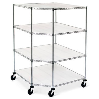 Oversized Chrome Four-Tier Corner Shelf with Liners