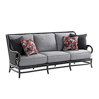 Marimba Wicker Sofa with Cushions by Tommy Bahama