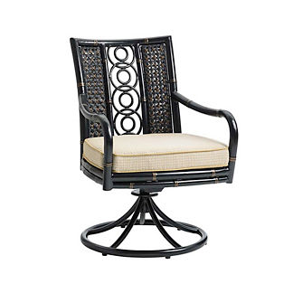 Marimba Wicker Swivel Rocking Dining Chair with Cushions by Tommy Bahama