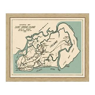 Saint Simons Island Framed Map