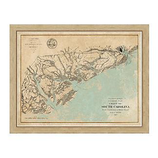 South Carolina Coast Framed Map