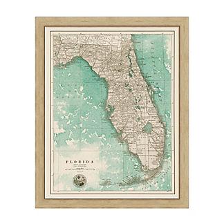 Florida Sepia Framed Map