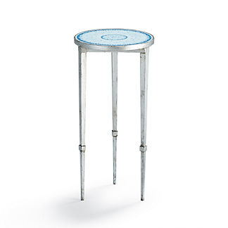 Blue and White Mosaic End Table