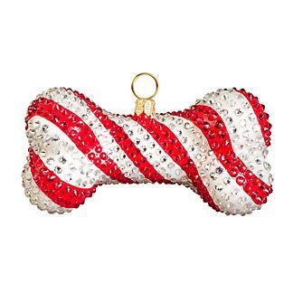 Candy Cane Crystal Encrusted Dog Bone Ornament