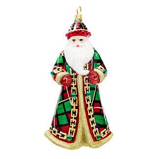 Tartan Plaid Jeweled Santa Ornament