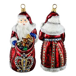 Red Crown Santa Ornament