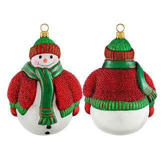 Glitterazzi Snowman in Glass Beaded Sweater Ornament