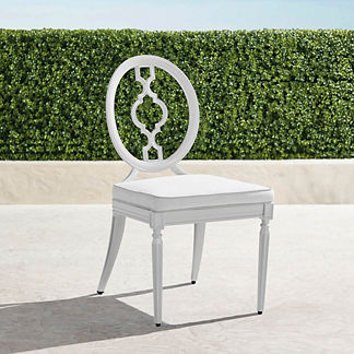 Avery Dining Side Chairs with Cushions in White Finish, Set of Two