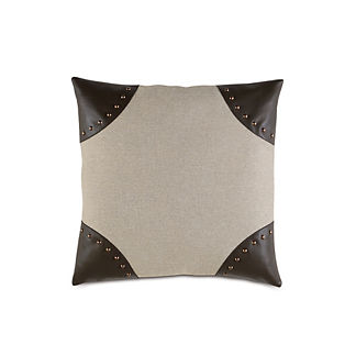 Reign Leather Corners Decorative Pillow