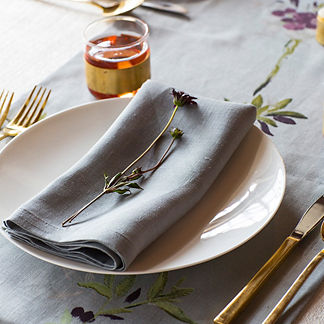 Pure Linen Napkins in Smoke, Set of Four