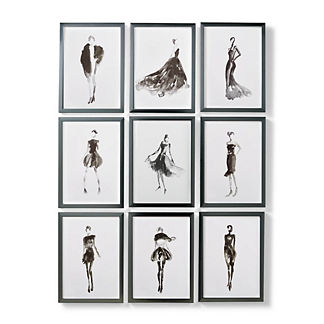 Pret-a-Porter Giclee Prints, Set of Nine