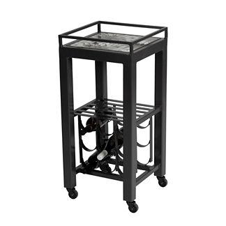 Galena Midnight Modern Wine Cart Table