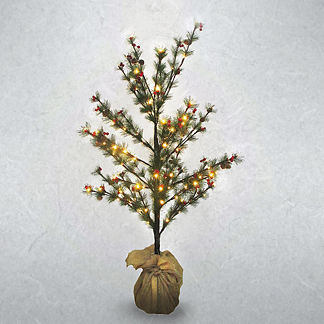 Bundled Sapling with Pinecones and Berries Artificial Pre-Lit Christmas Tree