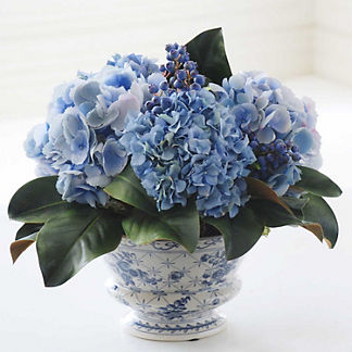 Mixed Hydrangea and Blueberry Chinoiserie