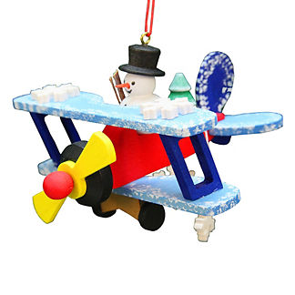 Snowman Flying a Biplane Ornament