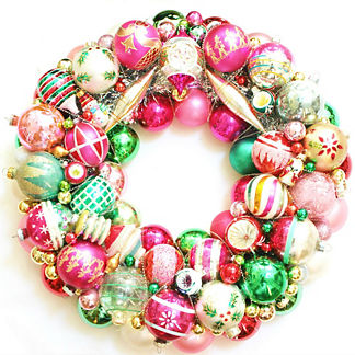 Vintage Pink and Green Glass Ornament Wreath