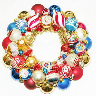 Vintage Red, White and Blue Glass Ornament Wreath