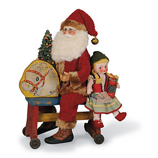 Lighted Pony Wagon Santa Figure