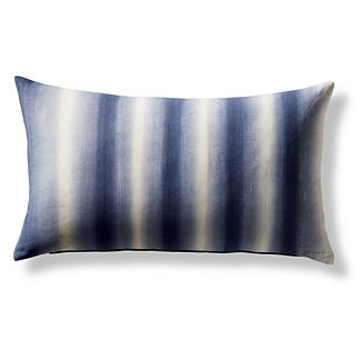 Hand-painted Indigo Decorative Lumbar Pillow