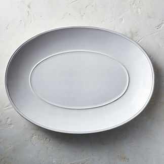 Costa Nova Friso Oval Serving Platter in White Finish
