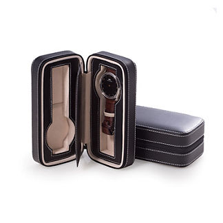 Leather Double Watch Travel Case