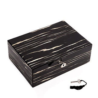 Lacquered Ebony Wood Jewerly Box with Valet Tray