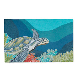 Swimming Sea Turtle 5' x 8' Outdoor Area Rug