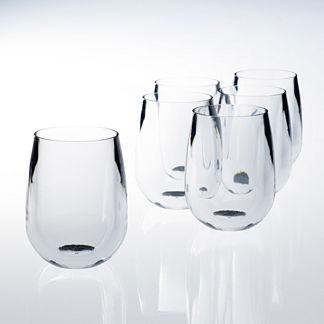 12 oz. Stemless Wine Glasses, Set of Six