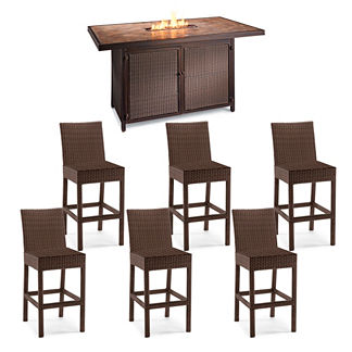 Palermo 7-pc. Counter Height Fire Table Set