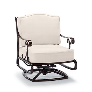 Orleans Swivel Rocking Lounge Chair with Cushions in Chocolate Finish